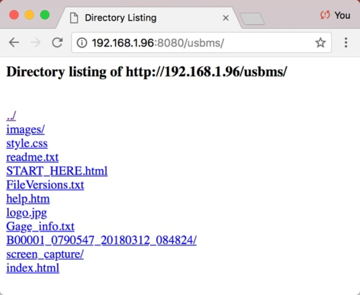 Screenshot from a web browser showing the Directory Listing when using a gage with PosiSoft USB