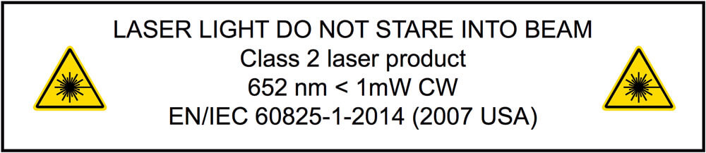 Image of the laser light warning that is found on the PosiTector IRT
