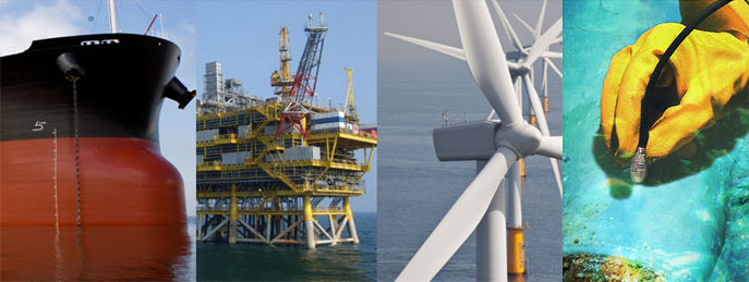 Collage of images for examples of when to use extended length probes. From left to right: hull of a large ship, an off-shore structure, a wind turbine, someone measuring with a PosiTector 6000 probe underwater