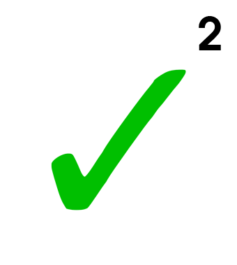 Green checkbox with a number 2 superscripted