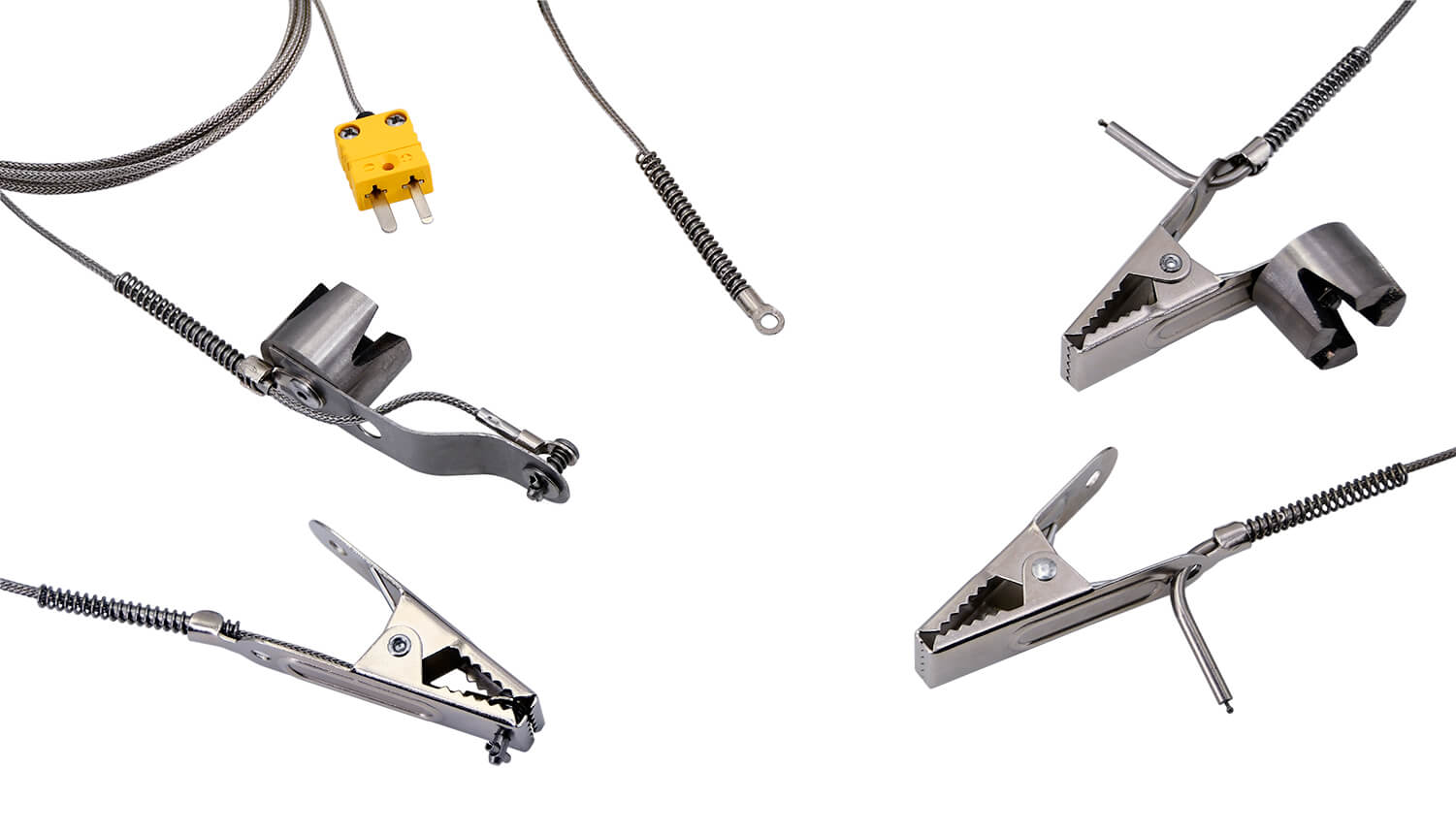 Image showing the different types of k-type Temperature probes offered for the PosiTest OTL. Clockwise from left to right reads the following: Clamp Surface Probe, Magnetic Surface Probe, Washer Surface Probe, Magnetic Air Probe, Clamp Air Probe.