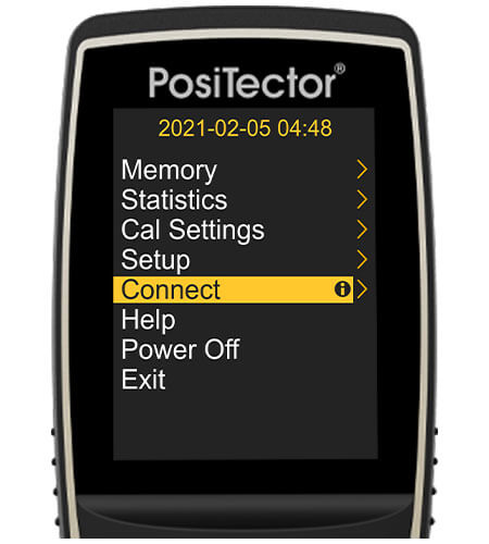 Image of a PosiTector gage body, the screen shows the main gage body menu and 'Connect' is selected