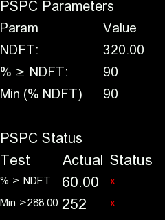 Screenshot from PosiTector gage body showing 90/10 settings for PSPC Parameters and PSPC Status