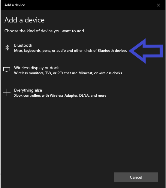 Screenshot from a PC 'Add a device' settings with Bluetooth highlighted