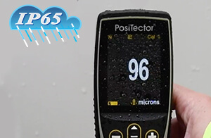 Image depicting that the PosiTector gage body is water proof and weather proof, IP65-rated