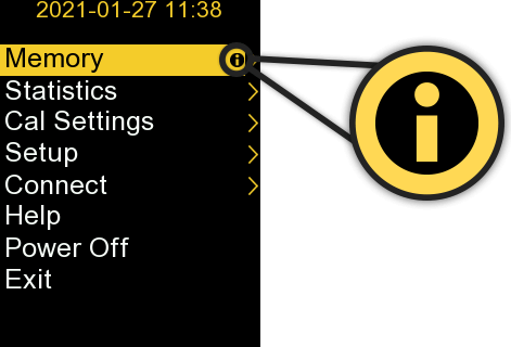 Image of Setup screen from PosiTector, a callout shows the 'help' icon larger