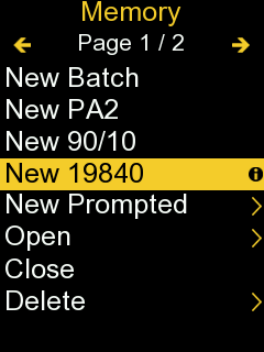 Screenshot from PosiTector gage body with 'New 19840' selected in the 'Memory' menu