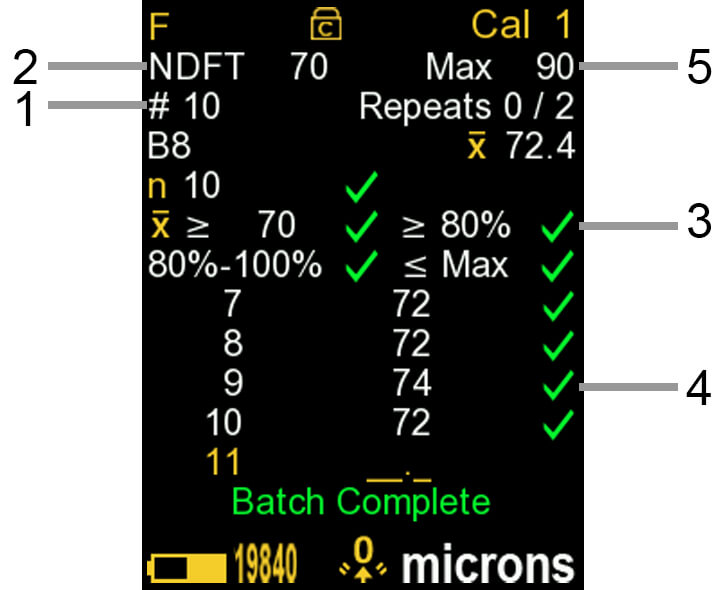 Graphic of a screenshot from PosiTector gage body with a PosiTector 6000 probe attached in ISO 19840 mode - multiple callouts point to different parts of the screen