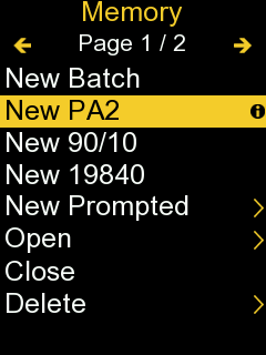 Screenshot from PosiTector gage body of the Memory menu with 'New PA2' selected