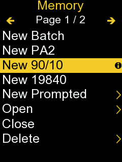 Screenshot from PosiTector gage body with 'New 90/10' selected in the 'Memory' menu