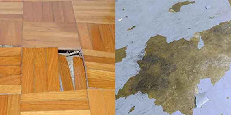 水损坏硬木和混凝土地板的照片