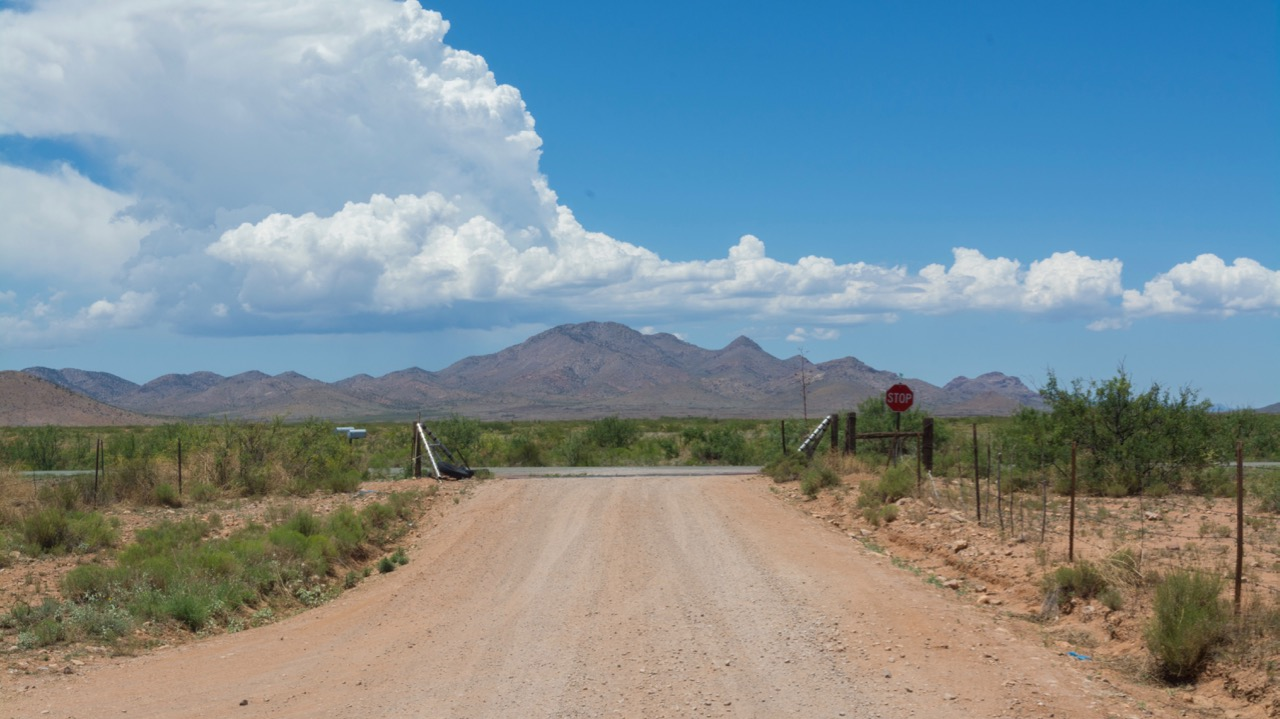 Arena Road looking West, the Chiricahua Mountains are straight ahead