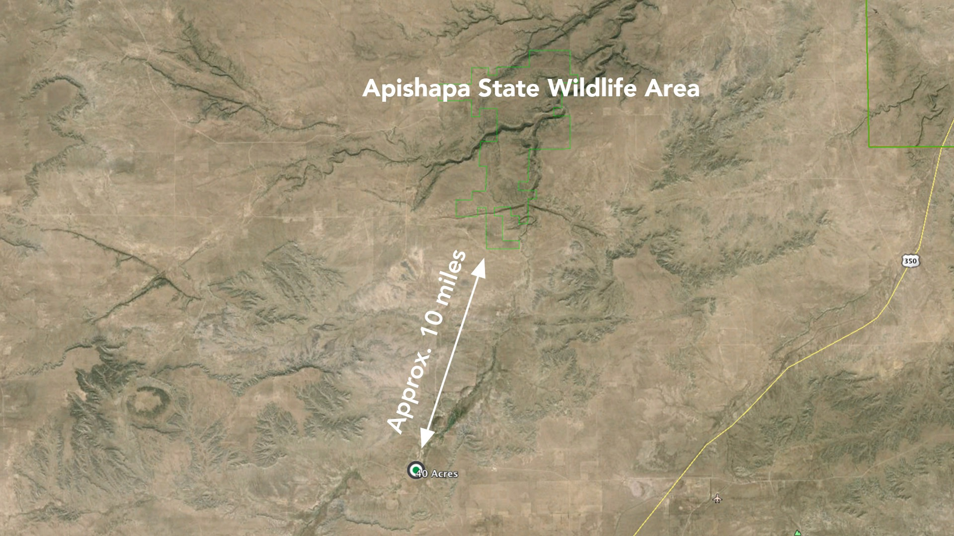 Approximately 10 miles to the Apishapa State Wildlife Area