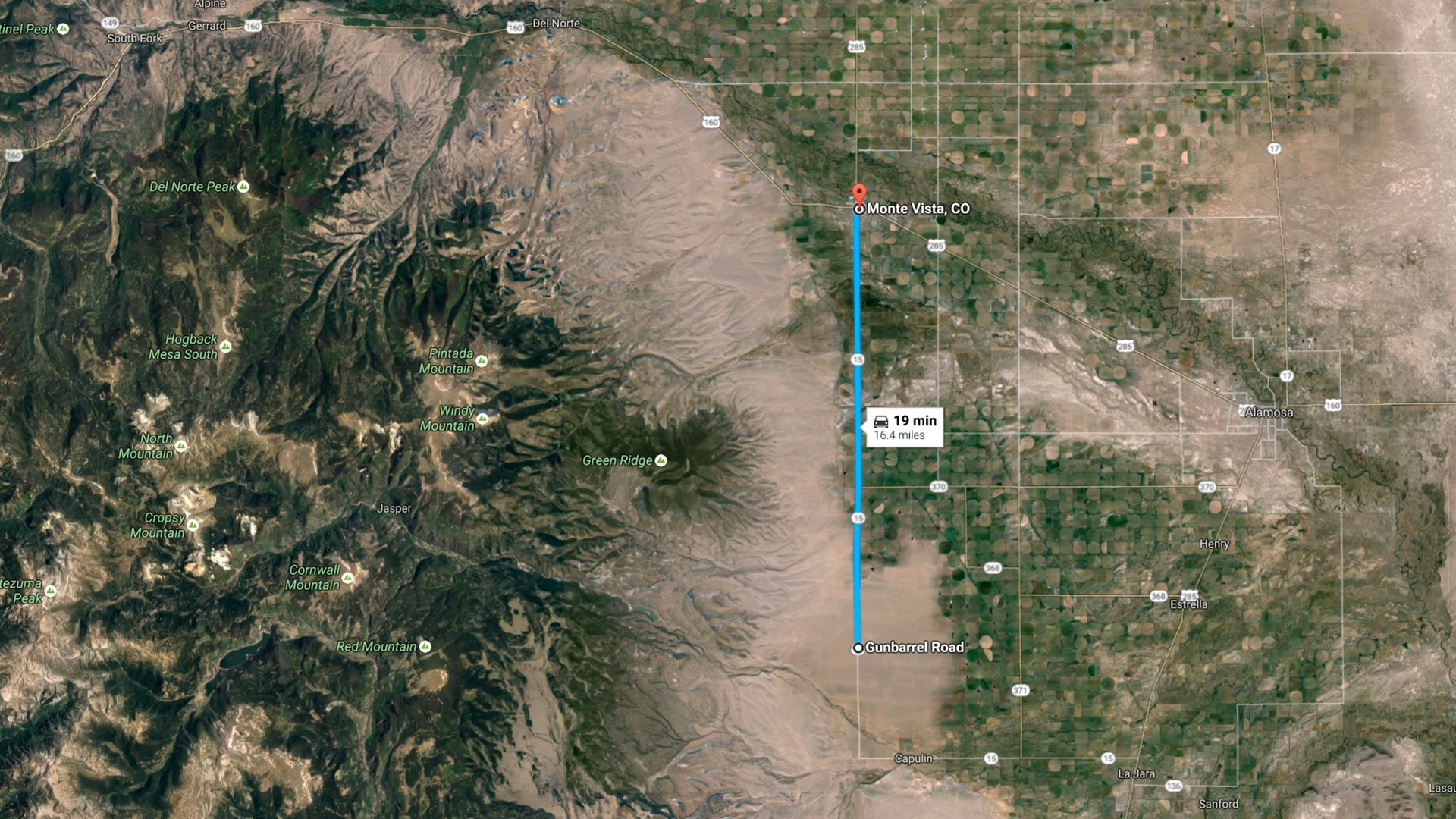 16 miles to Monte Vista