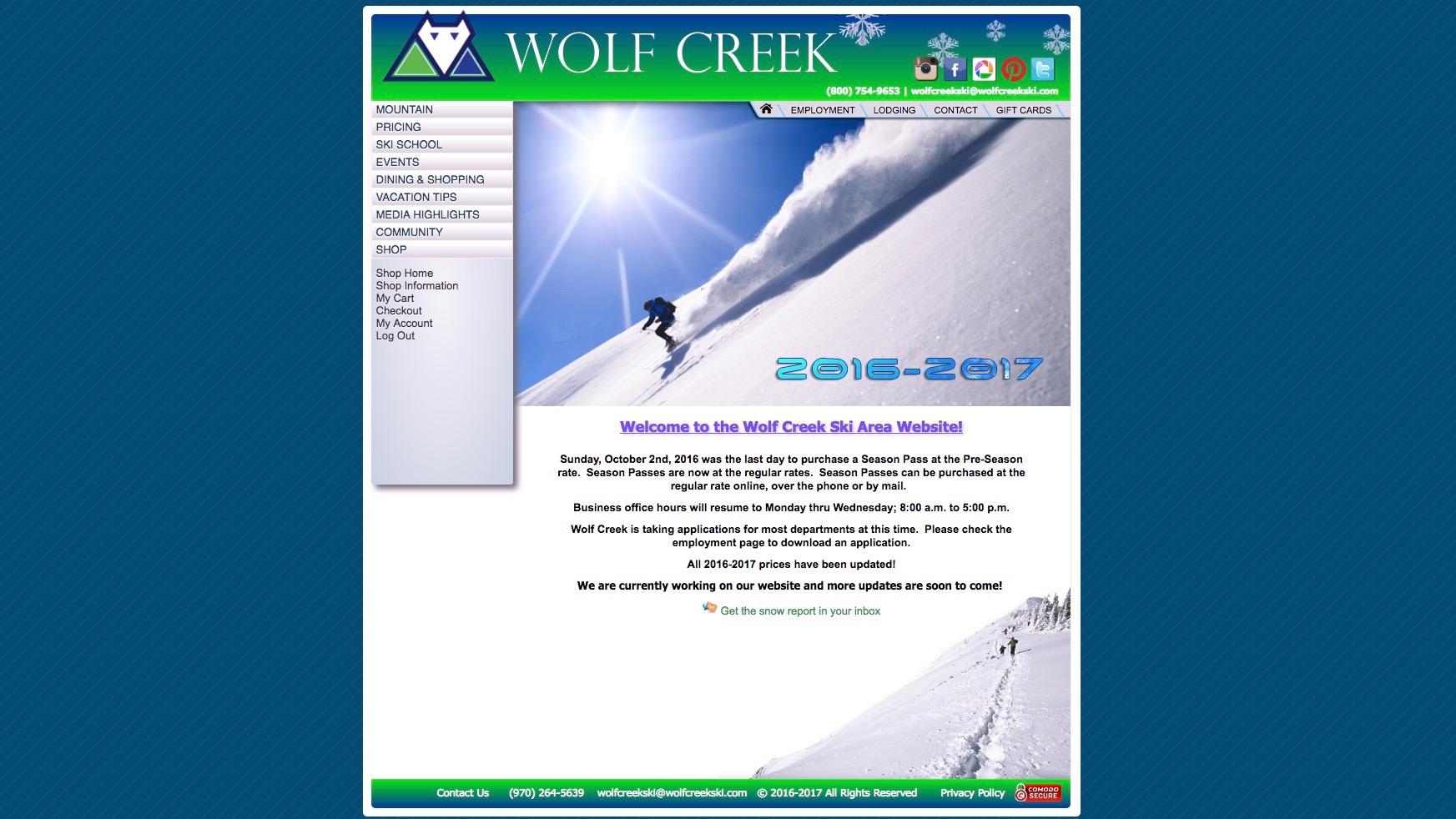 Wolf Creek Ski Area website