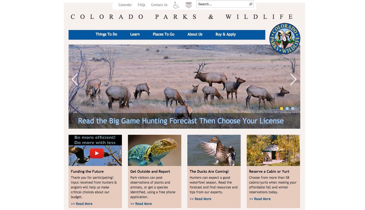 Colorado Parks & Wildlife website