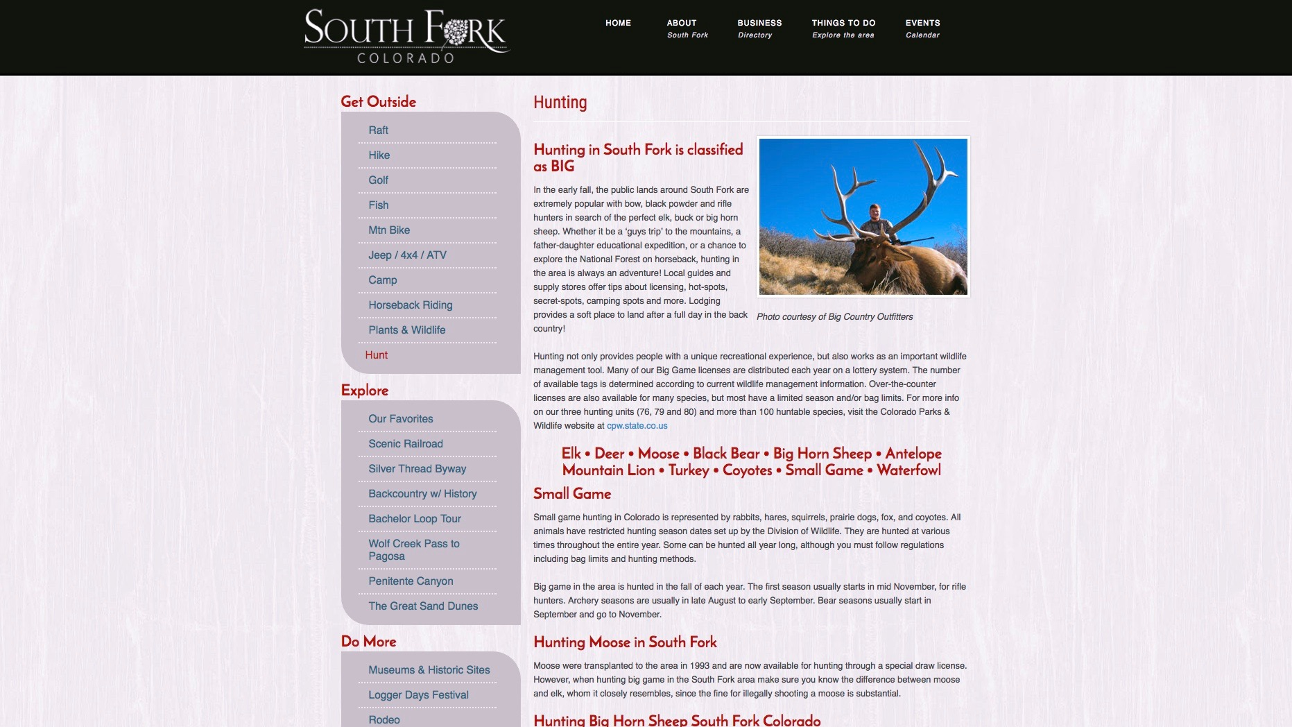 South Fork Hunting info