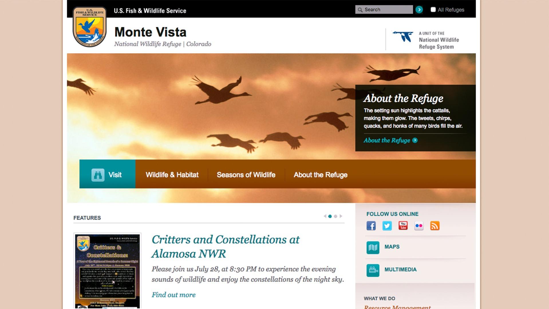 Monte Vista Wildlife Refuge website