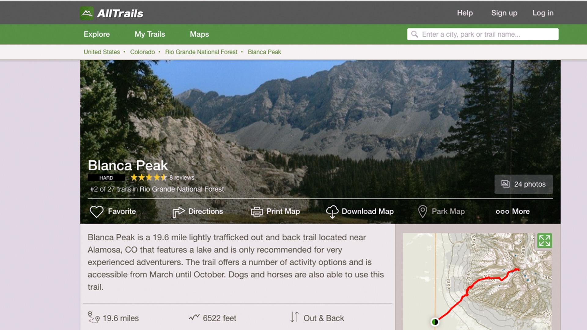 Hiking in Blanca Peak