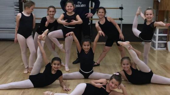 Children at ballet class