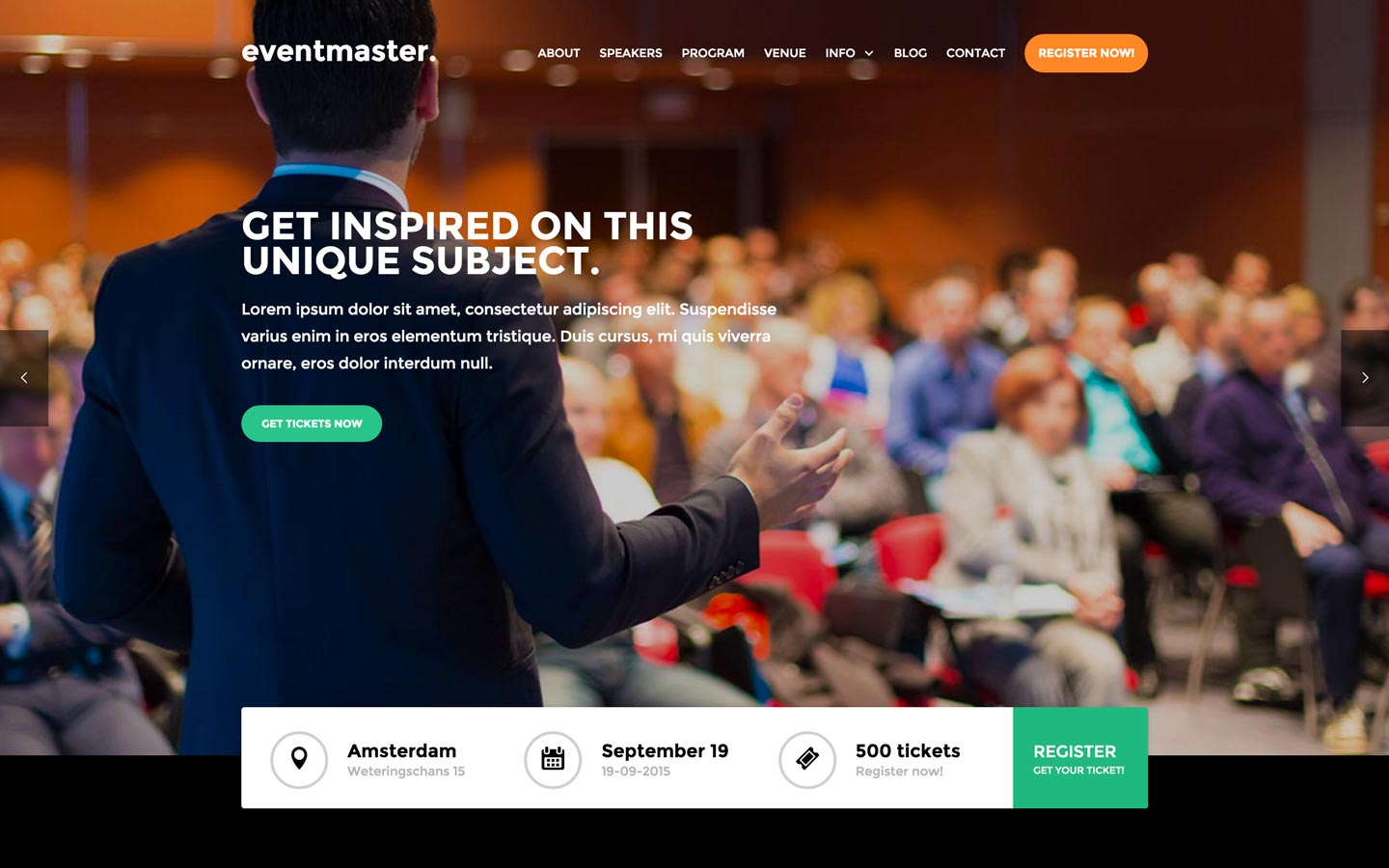 eventmaster event html5 responsive website template