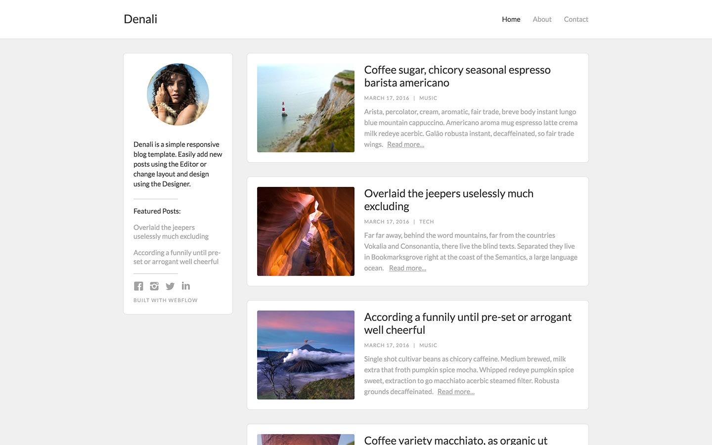Blog Website Templates Available at Webflow