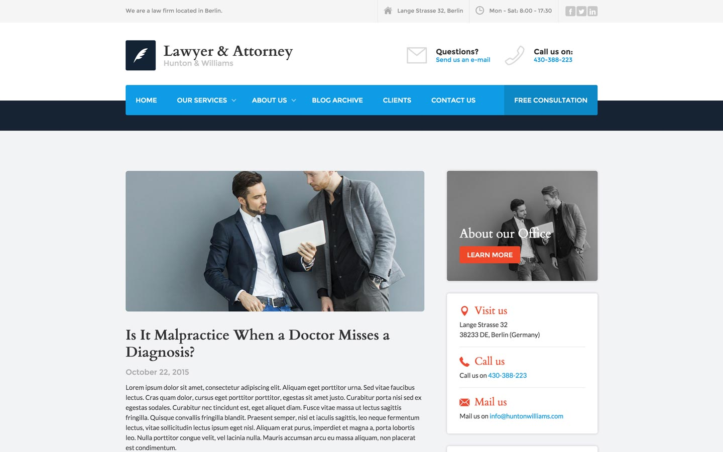 Lawyer and attorney law firm html5 responsive website An website