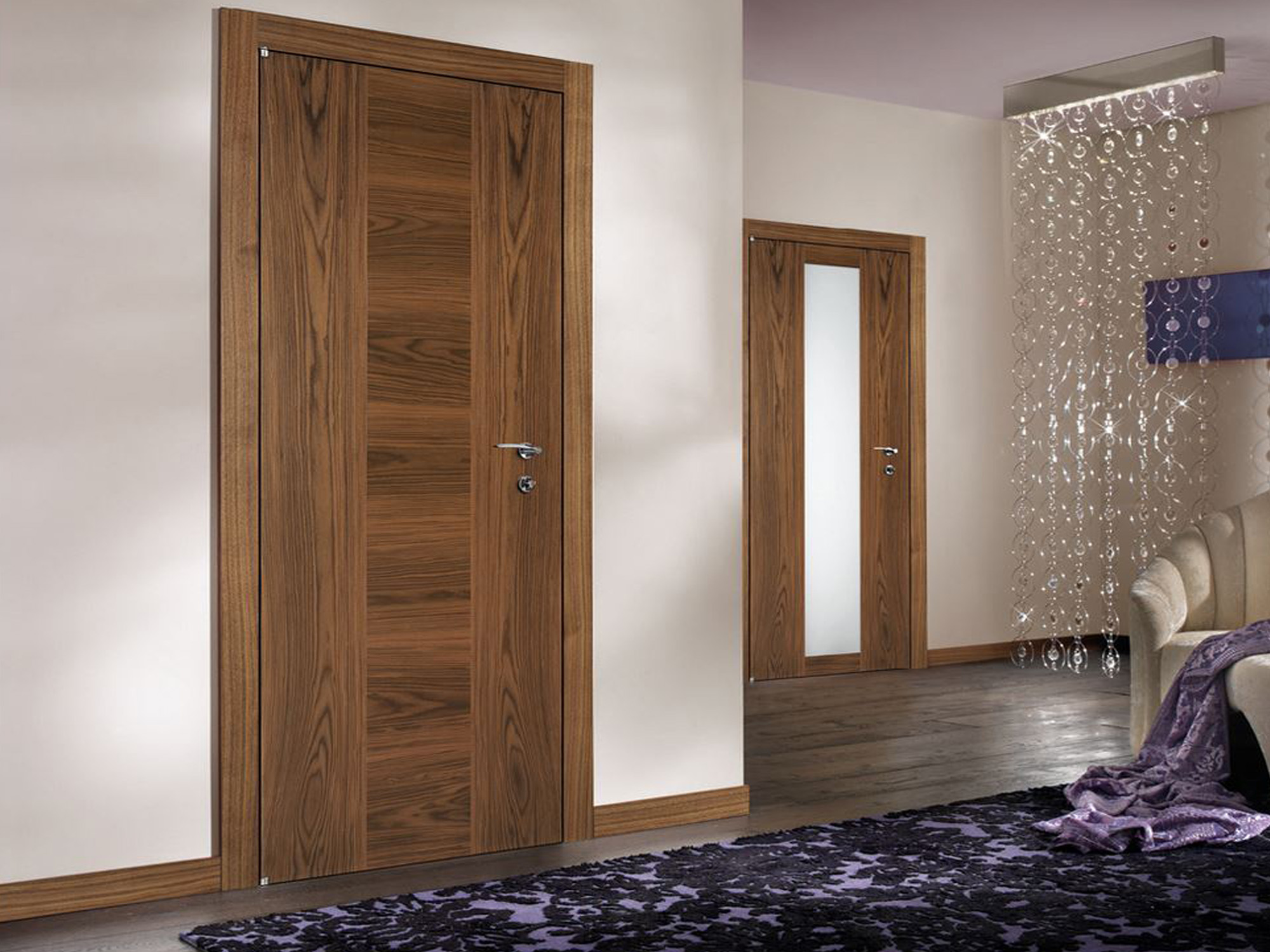 Custom Made Wood Internal Doors Modern Flush Walnut Wood Interior