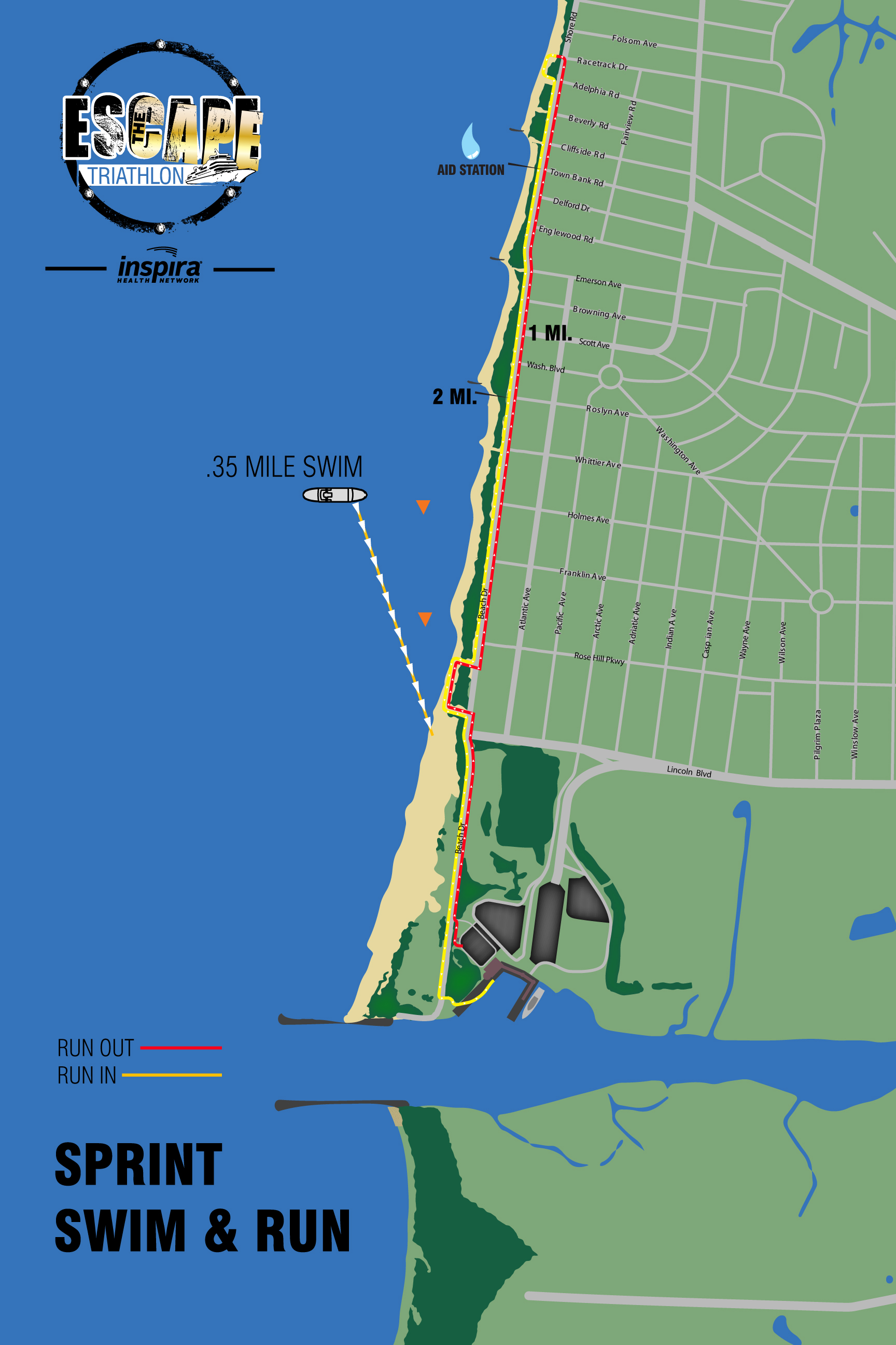 Swim & Run Course Map (Sprint Triathlon)