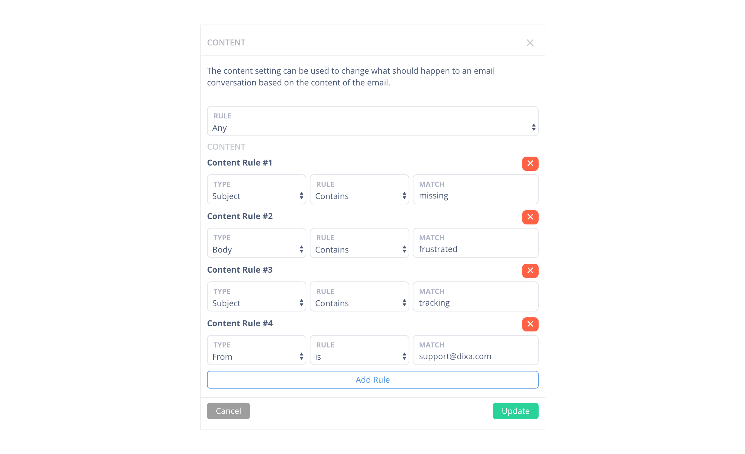Content Rules Action in Email Flow Editor