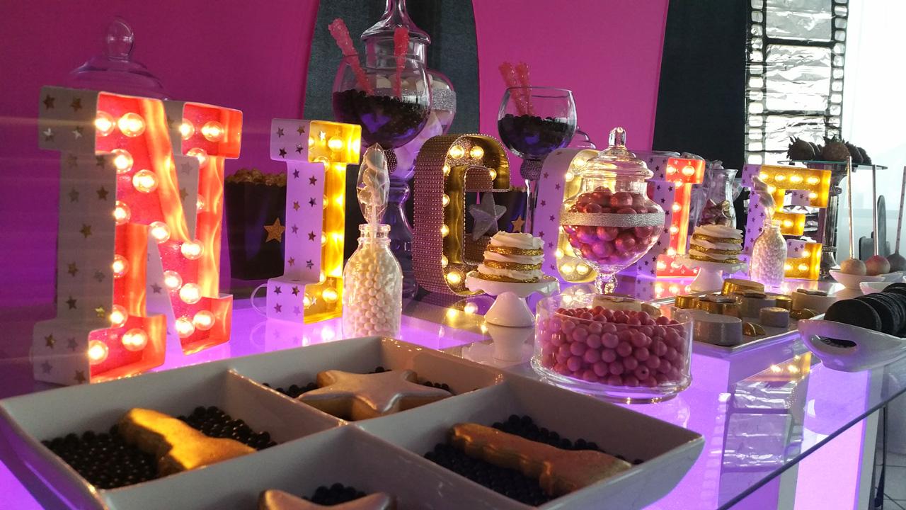 Candybar iluminado en Quinceañero.