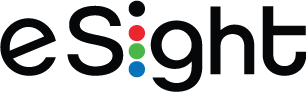 eSight logo: the e is tilted and the i is made up of 4 dots