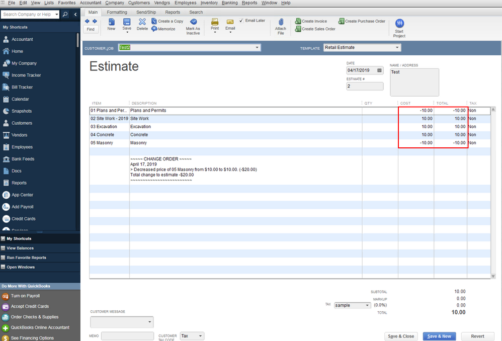 Quickbooks estimates