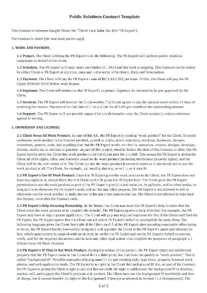 Public Relations Contract Template