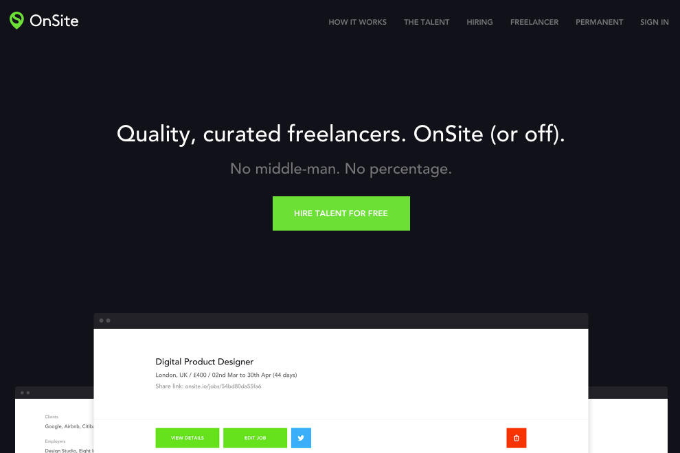 Best freelance website OnSite - bonsai