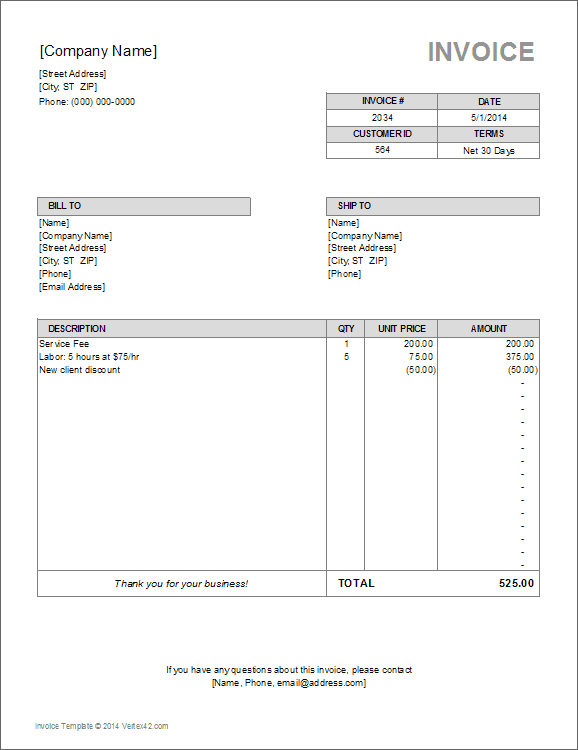 Contractor Invoice Template Example