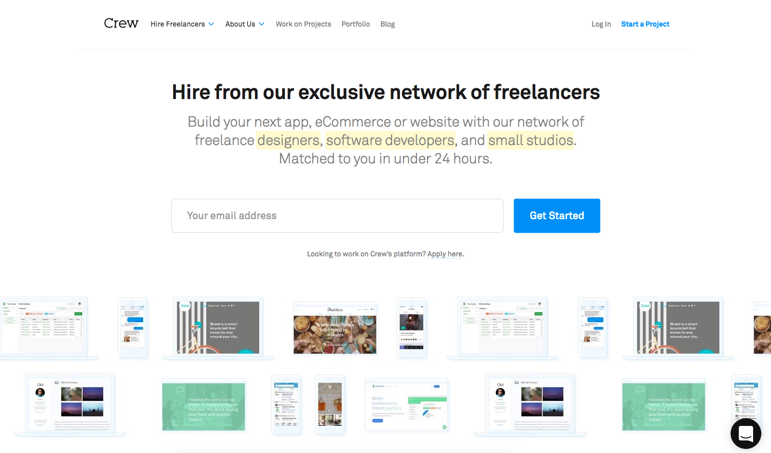 Find freelance work on Crew.co
