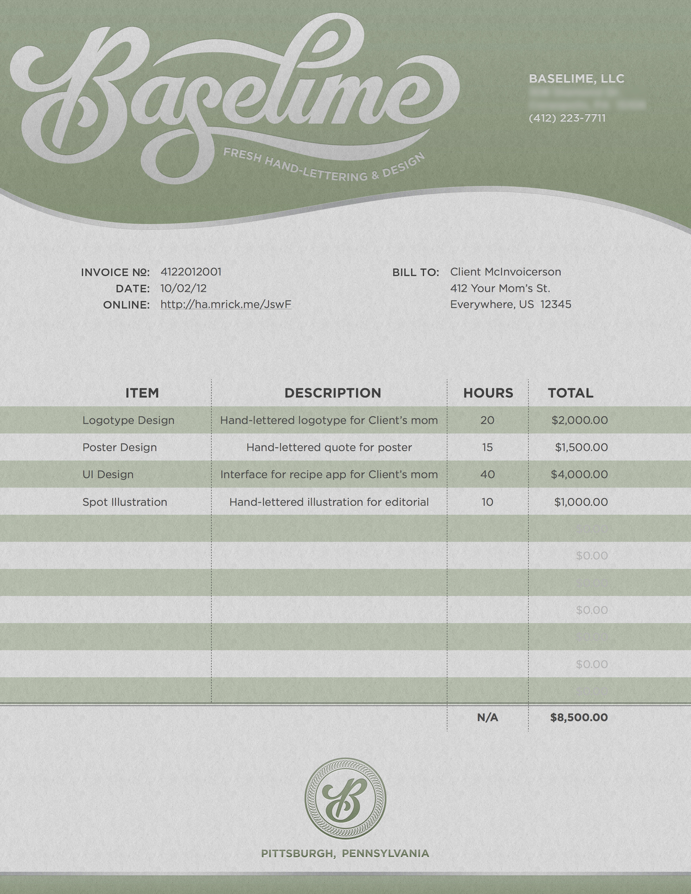 Download Freelance Graphic Designer Invoice Template Bonsai