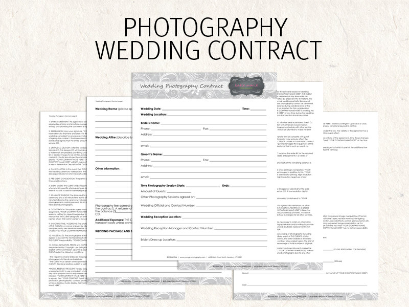 Template of a Wedding Photography Contract