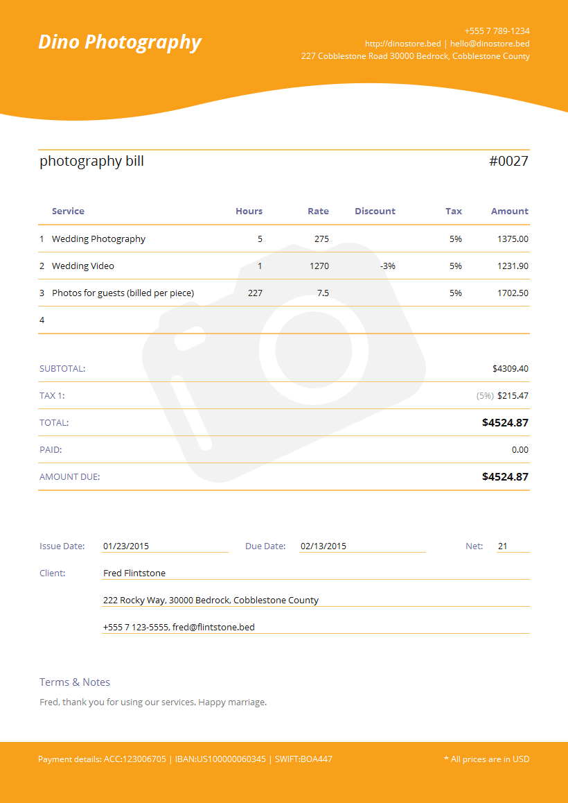 Photography Invoice Template Sample