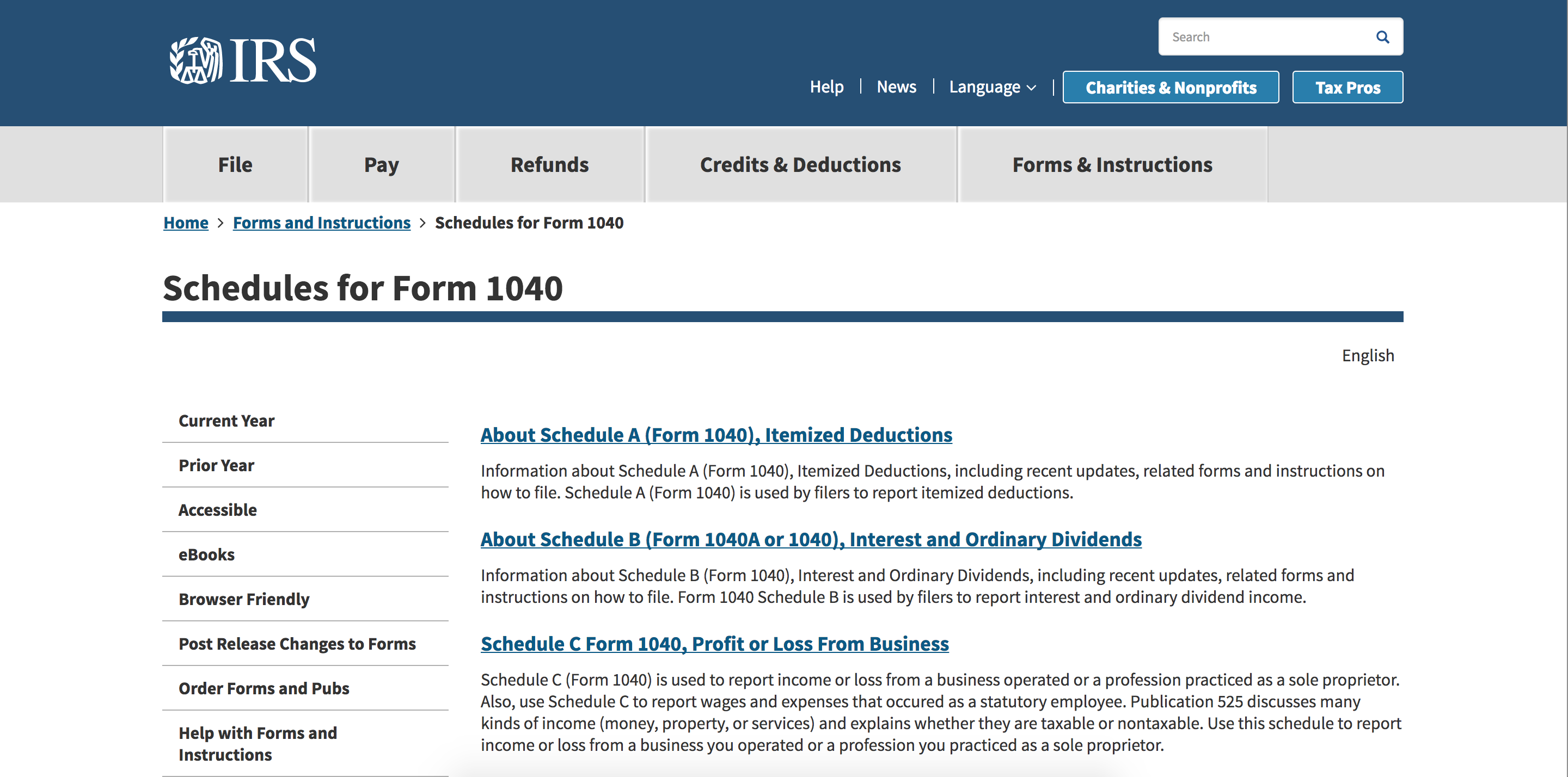 Screenshot of IRS Website & Form 1040