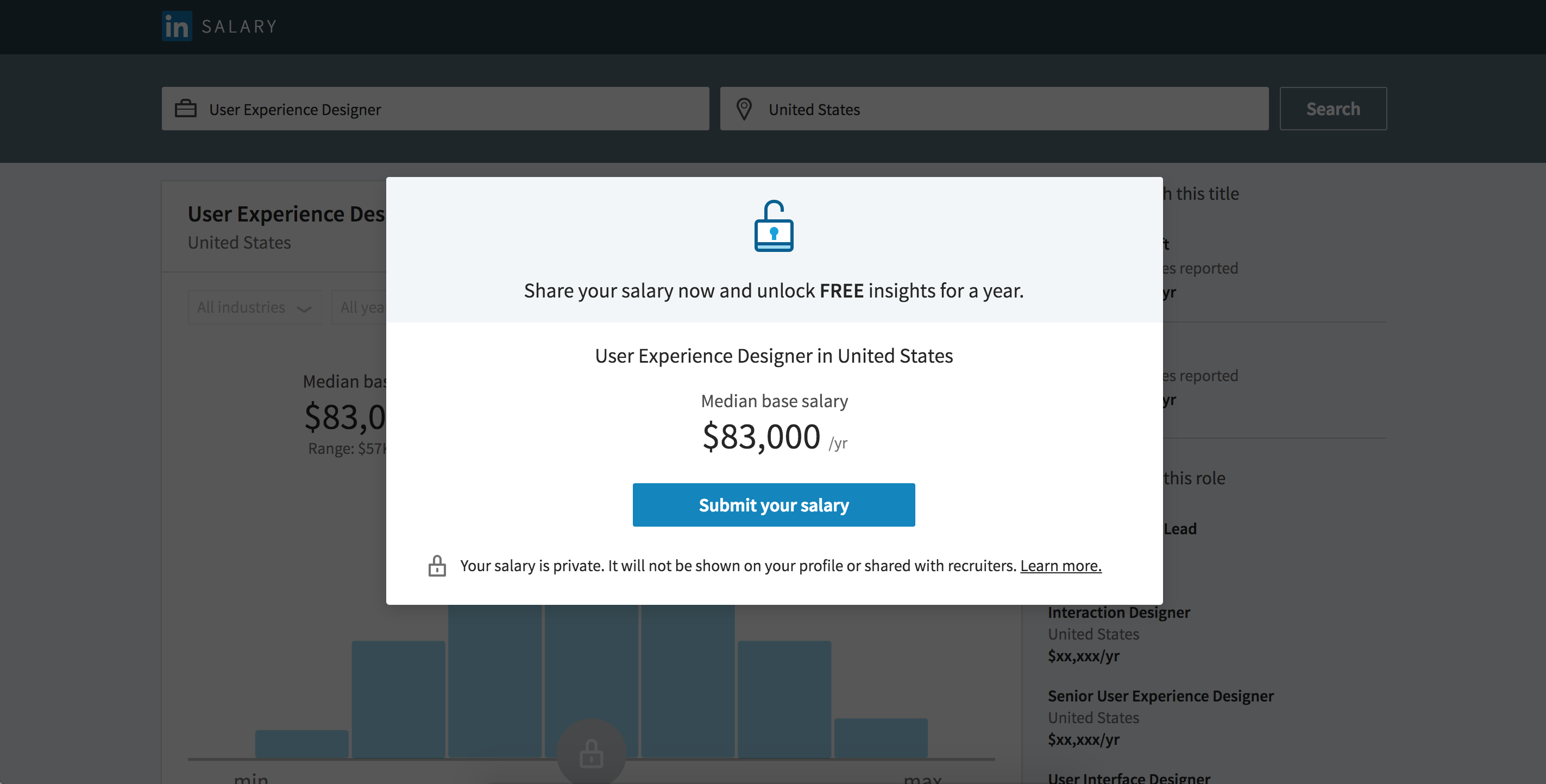 UX Designer Salary on LinkedIn