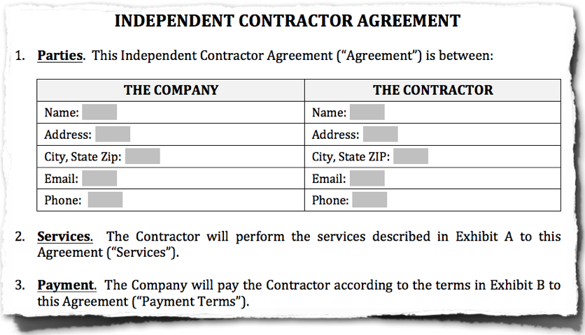 Abstract of an independent contractor contract example