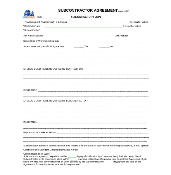 subcontractor agreement template subcontractor contract. Black Bedroom Furniture Sets. Home Design Ideas