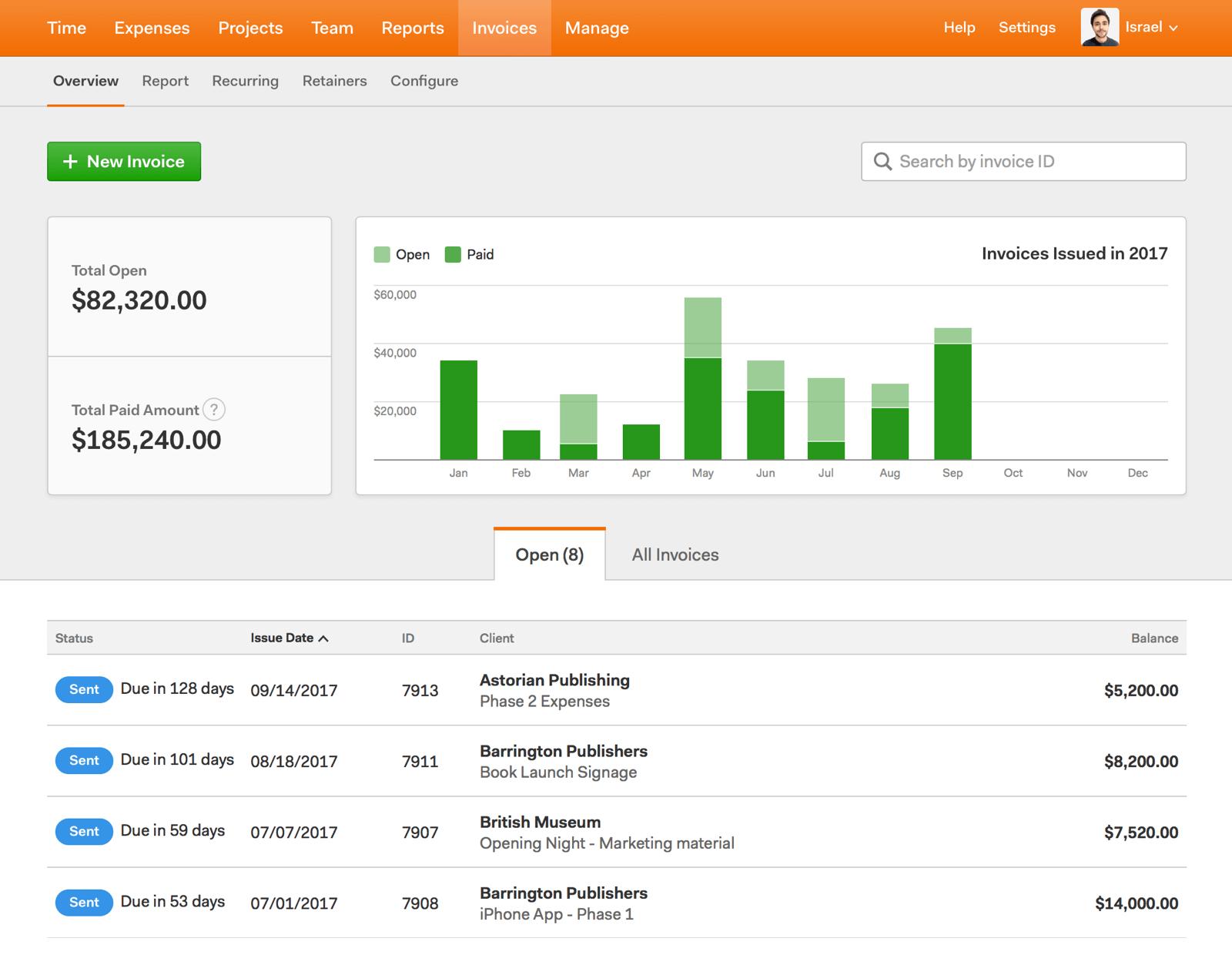 Online Invoice App Dashboard