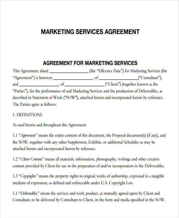 Digital Marketing Contract Template Example PDF
