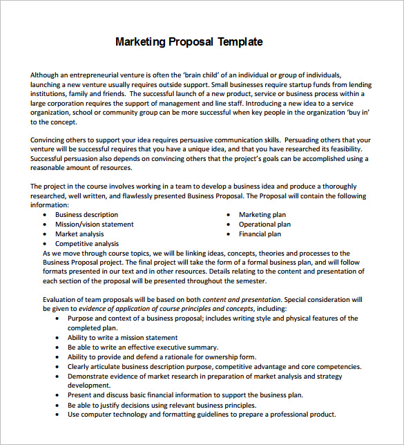 Marketing Communications Proposal Template Sample
