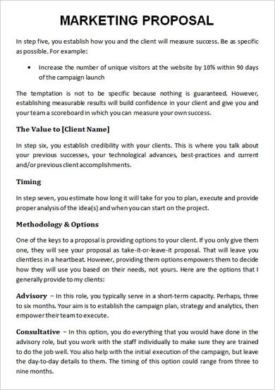 Business Marketing Proposal Template Example