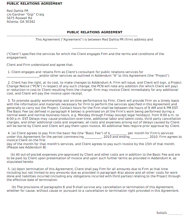 Public Relations Contract Template Sample
