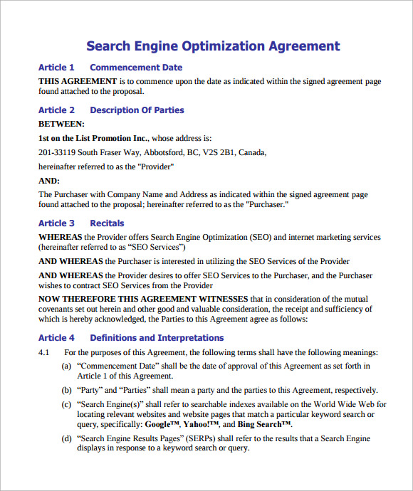 SEO Contract Template PDF